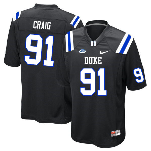 Men #91 Ahmad Craig Duke Blue Devils College Football Jerseys Sale-Black
